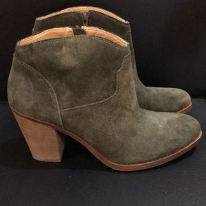 Lucky Brand Olive Green Suede Boots Size 11